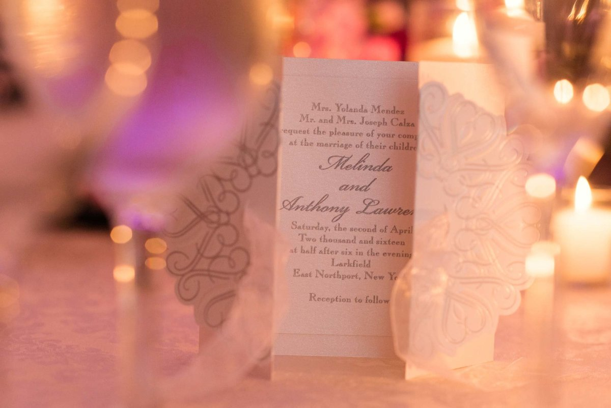 Wedding invitation at Larkfield Manor
