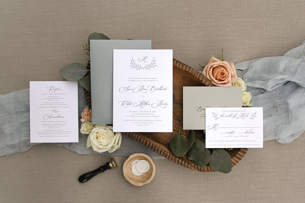 Beautiful and elegant wedding invitation suite featuring a monogram at the top and classic calligraphy for bride and groom's names. Akron Invitation, Cleveland Invitation, Wedding Invitation, Monogram Invitation