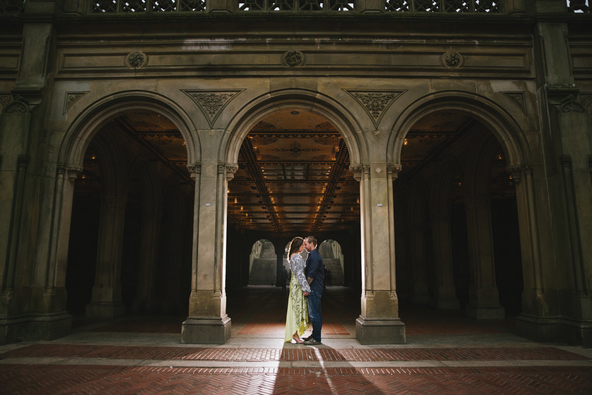 central park nyc engagement dramatic light boho new york city