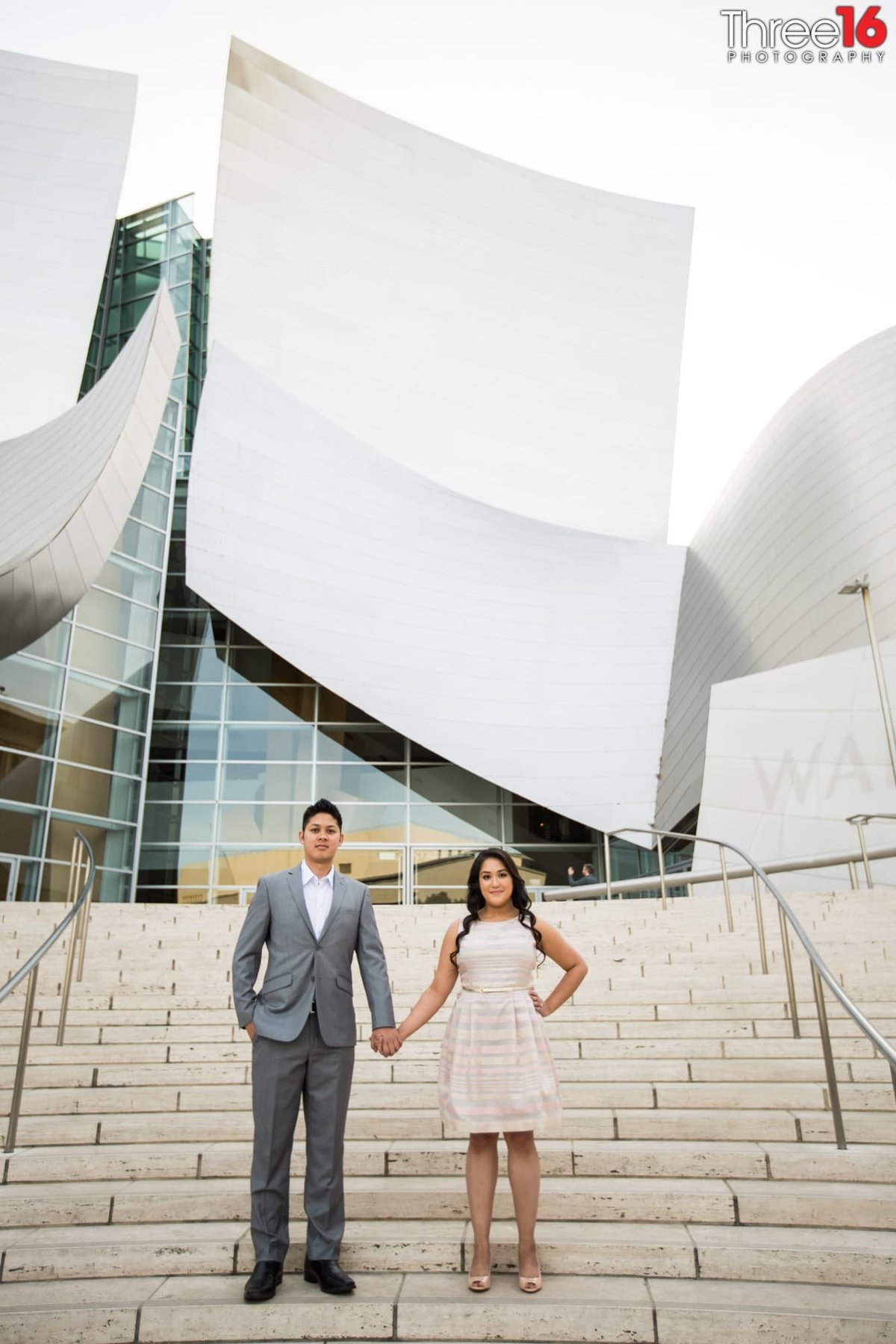 Walt Disney Concert Hall Engagement Photos Los Angeles County Wedding Professional Photographer