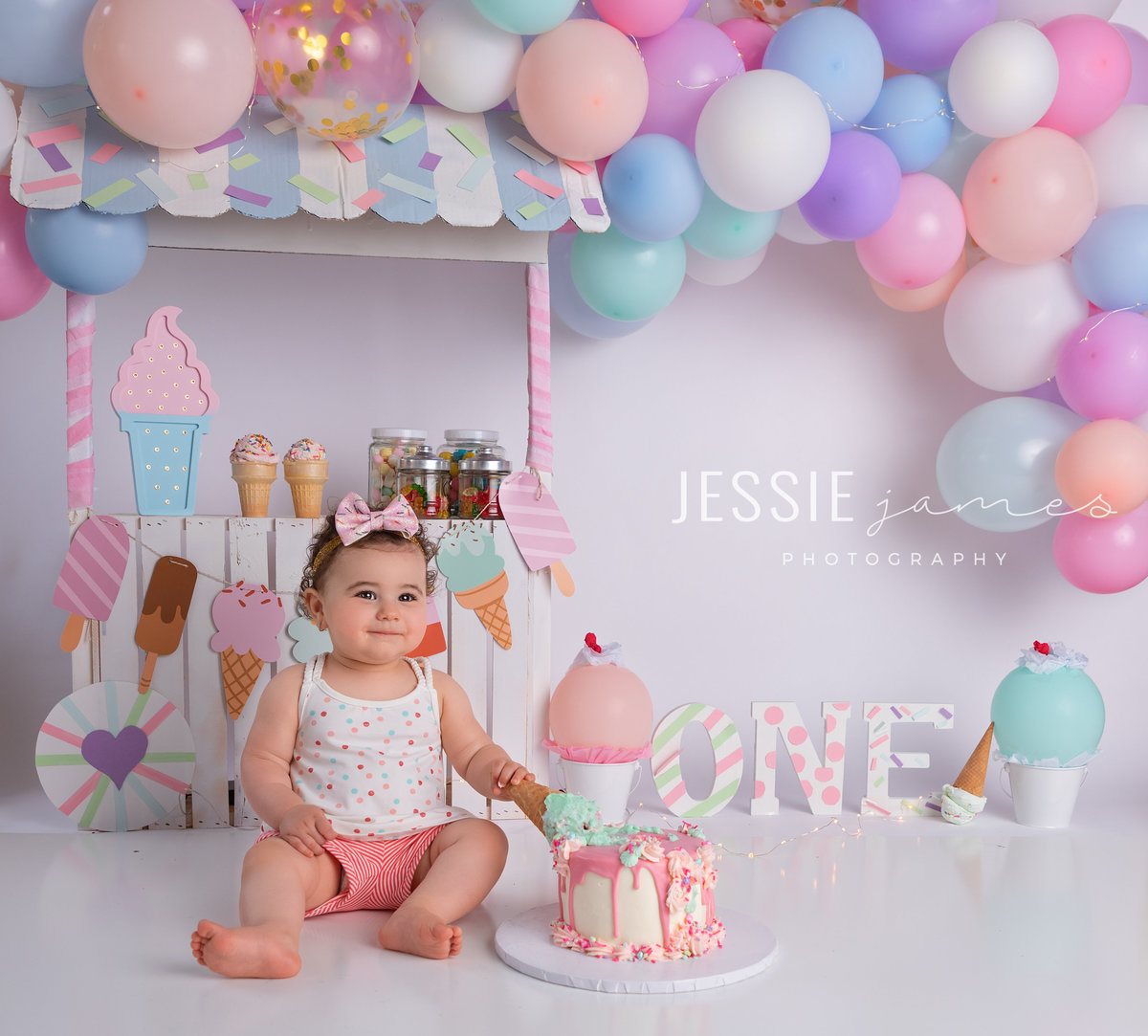 ice cream themed cake smash photography session