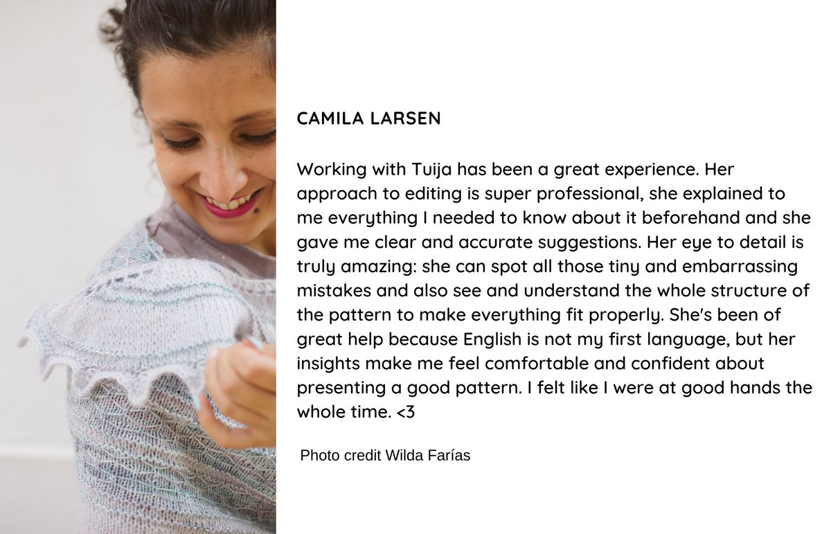 Testimonial for tech editing the Crisalida shawl knitting pattern