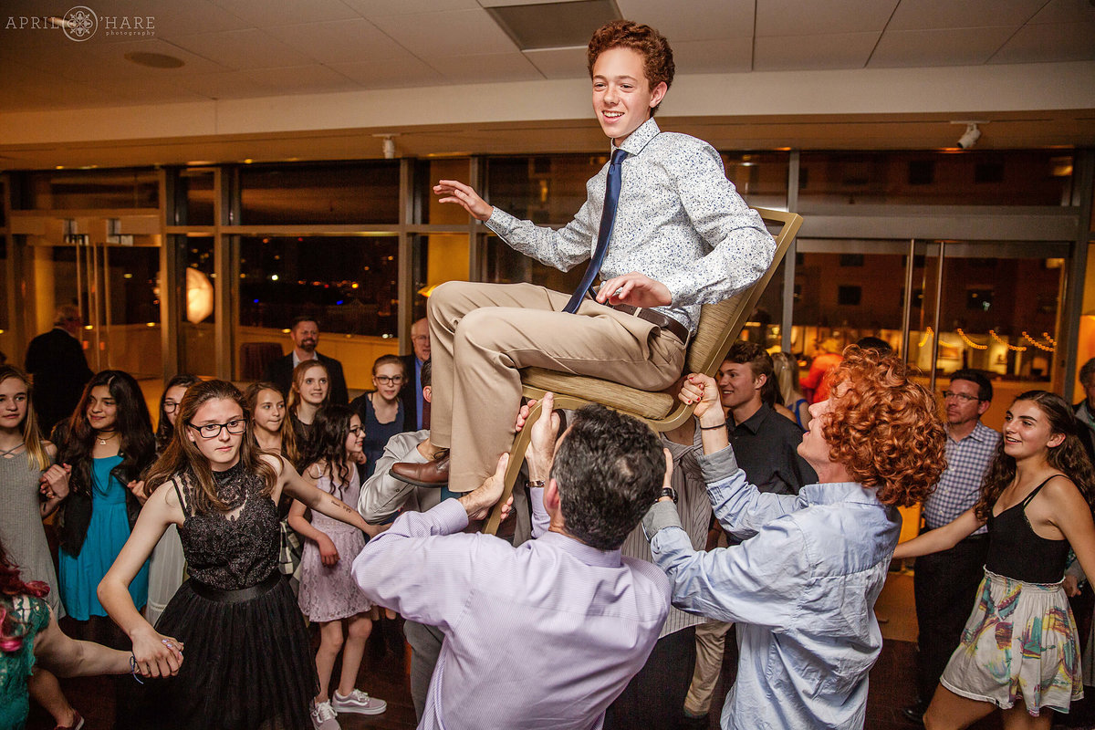 Horah Chair Dance at a Bat Mitzvah Party at History Colorado Museum in Denver Colorado
