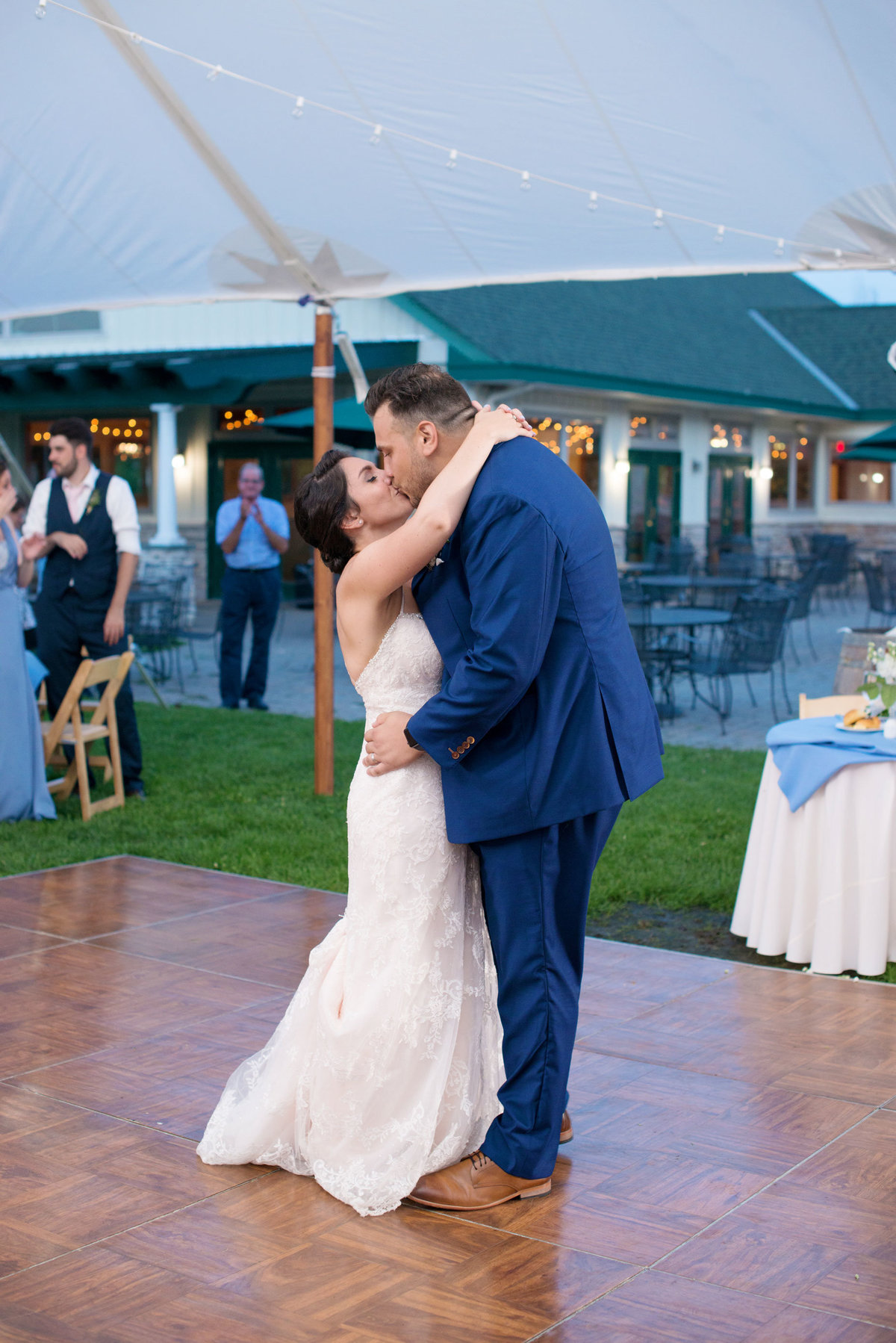 Bride and groom's first dance at Duckwalk Vineyards