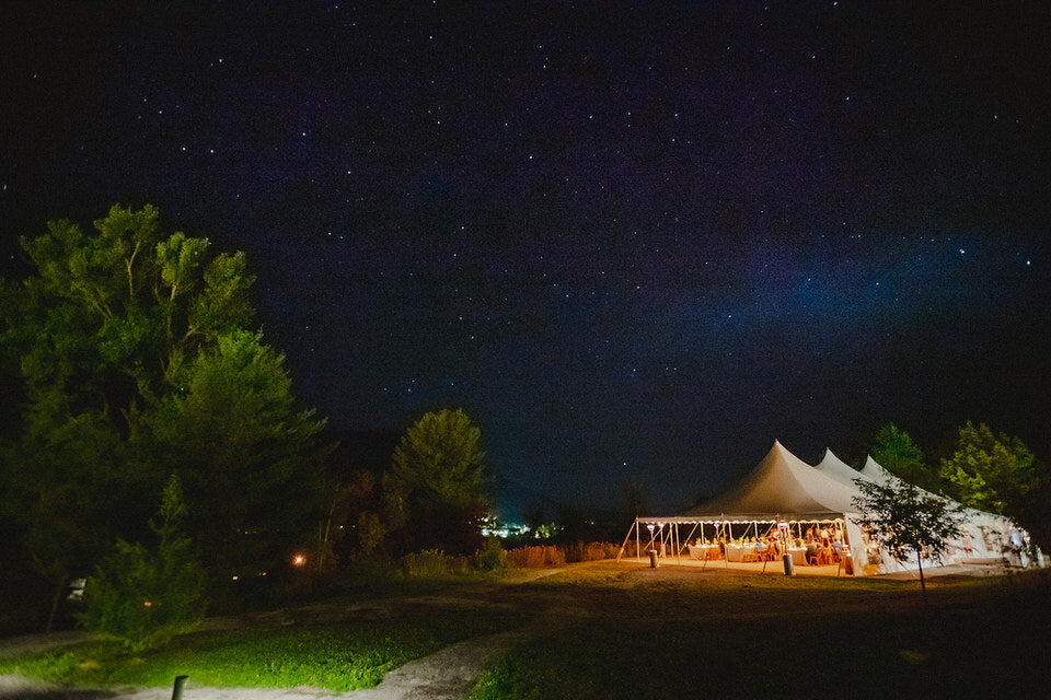 Starry Night Wedding Tent Scribners Lodge Wedding Catskills Wedding Venue Wedding Planner New York Upstate Wedding Planner Canvas Weddings