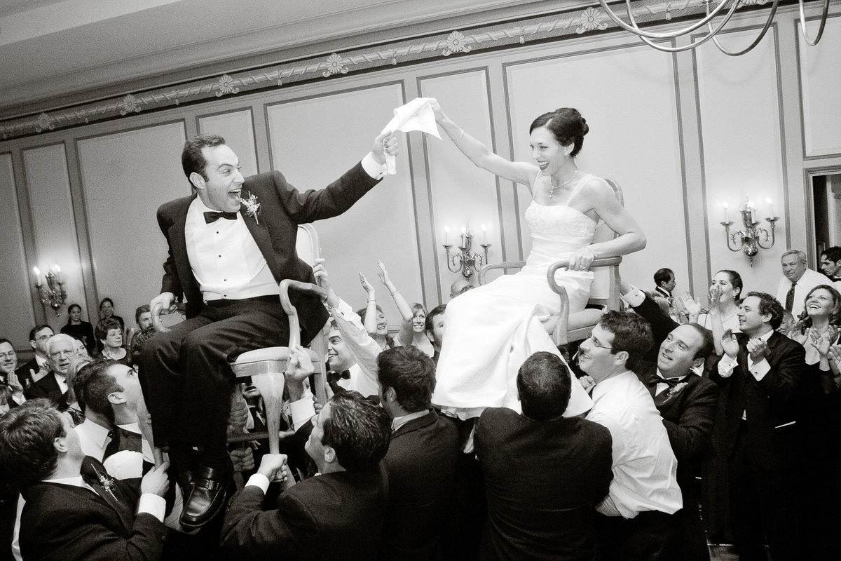 Newlyweds celebrate with a hora.