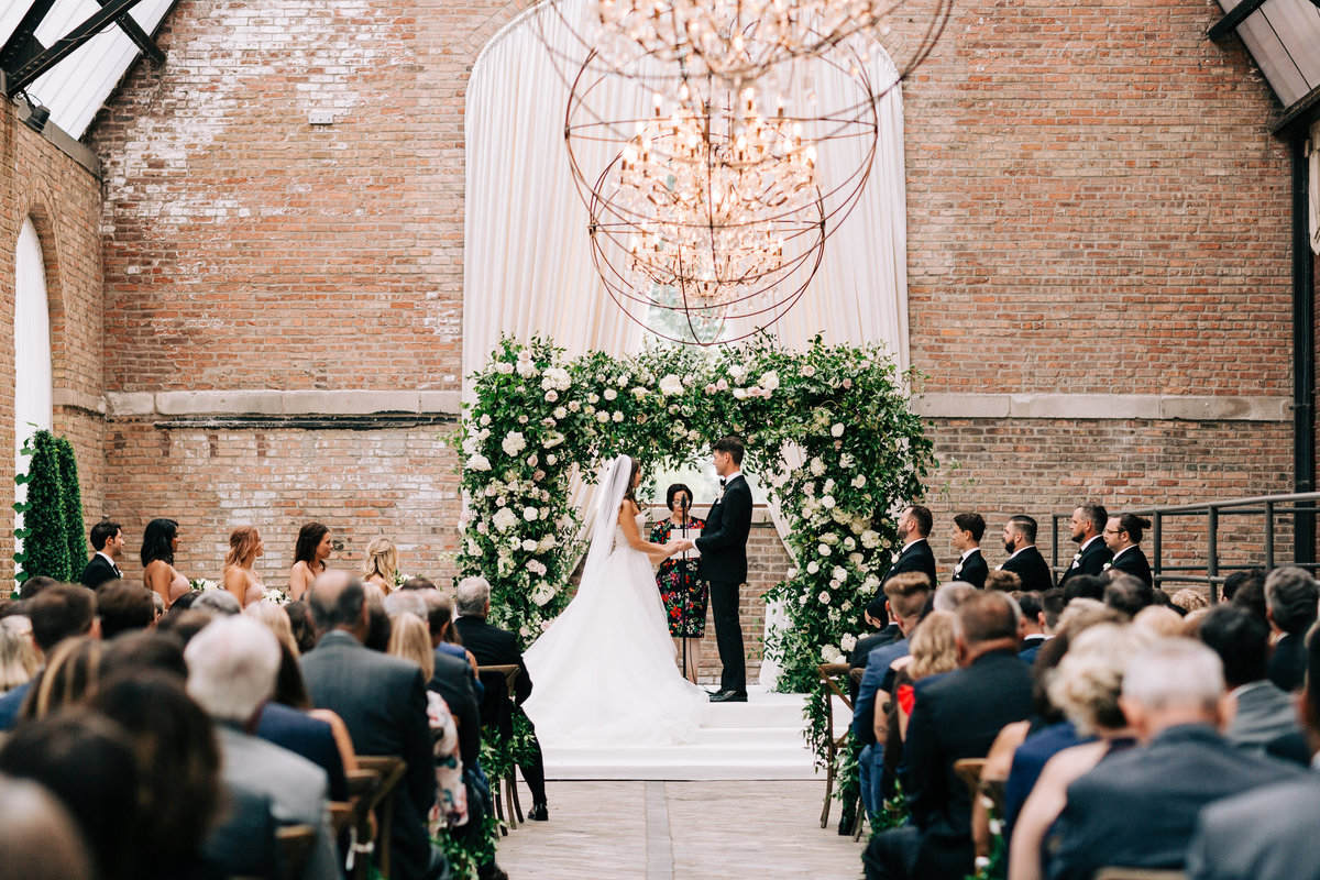 Bridgeport Art Center Sculpture Garden Wedding Ceremony Floral Arch