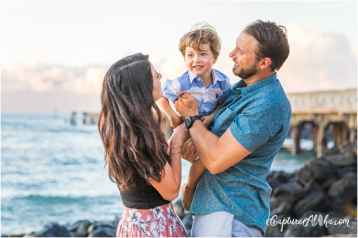 Maui Family Photography with a family of three at Baby Beach in Lahaina at Sunset