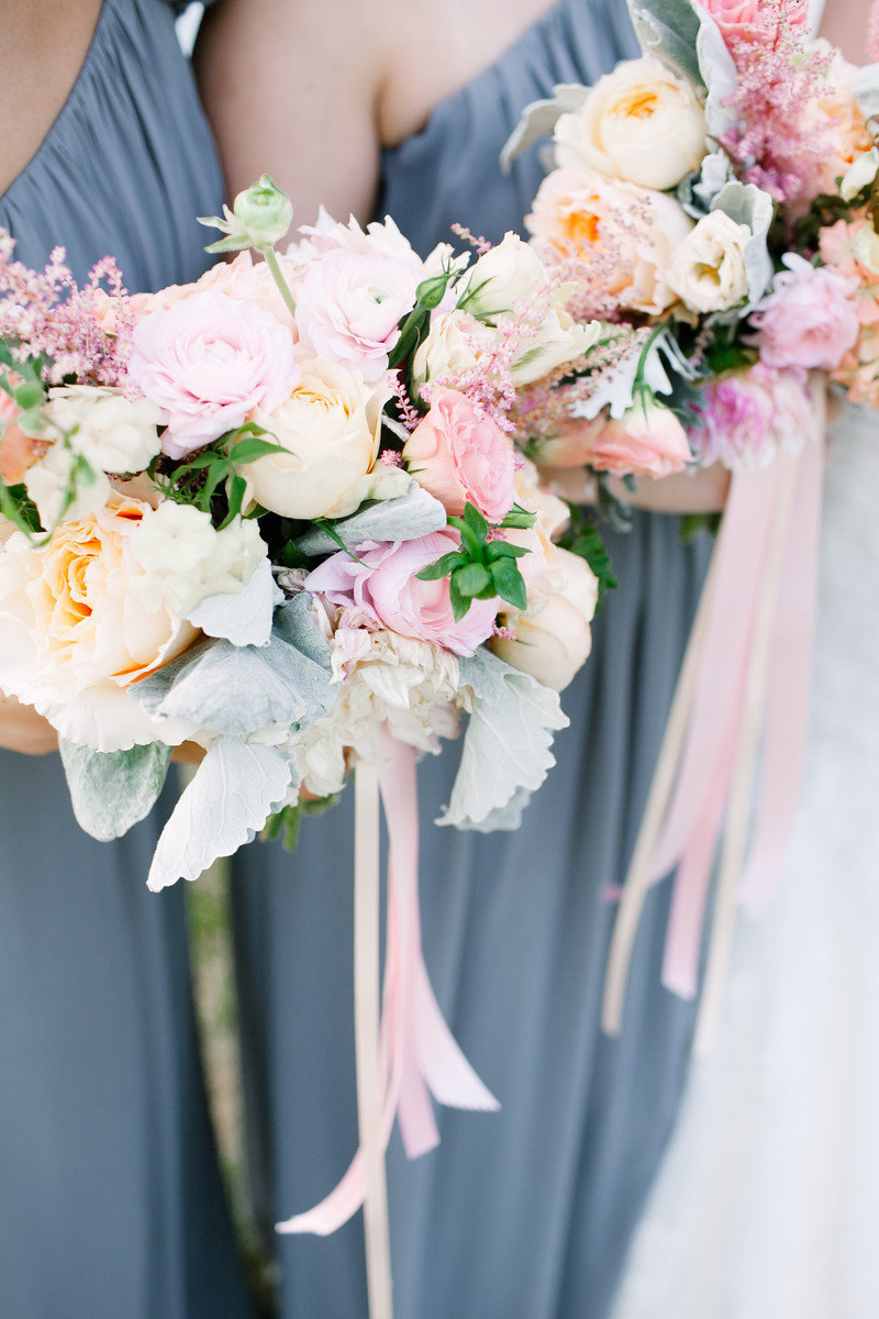 pink peach bouquets bridesmaid