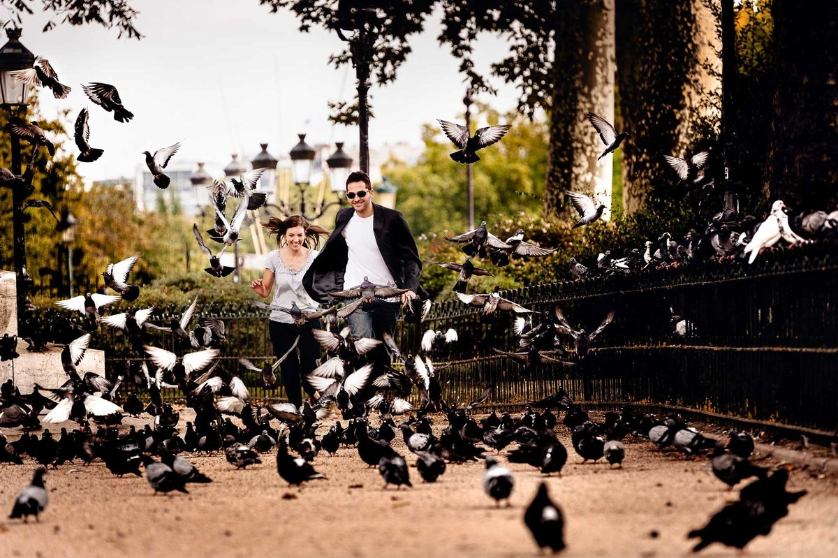engagement photo in paris france by stephane lemaire photography