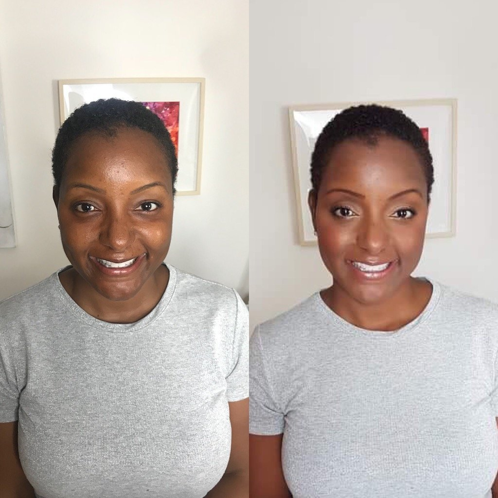 Before and After Makeup Natalie Setareh African American Natural