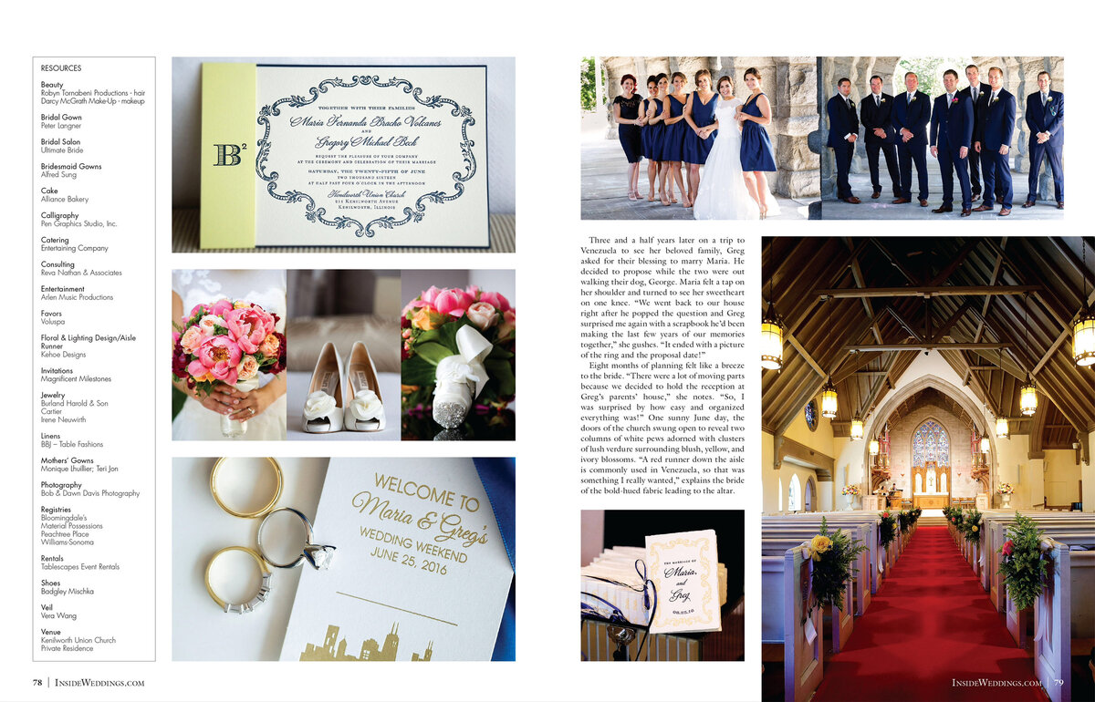 So excited for our beautiful couple, Maria and Greg, to have their wedding featured in the 2017 Summer Issue of Inside Weddings! Their wedding was meticulously planned by Reva Nathan & Associates and beautifully designed by Tom Kehoe of Kehoe Designs. We will never get tired of seeing our photos in print in such a luxurious bridal magazine. Thank you Walt, Art and Nicole for selecting one of our weddings, out the many that are submitted to you! Click here for a list of vendors.