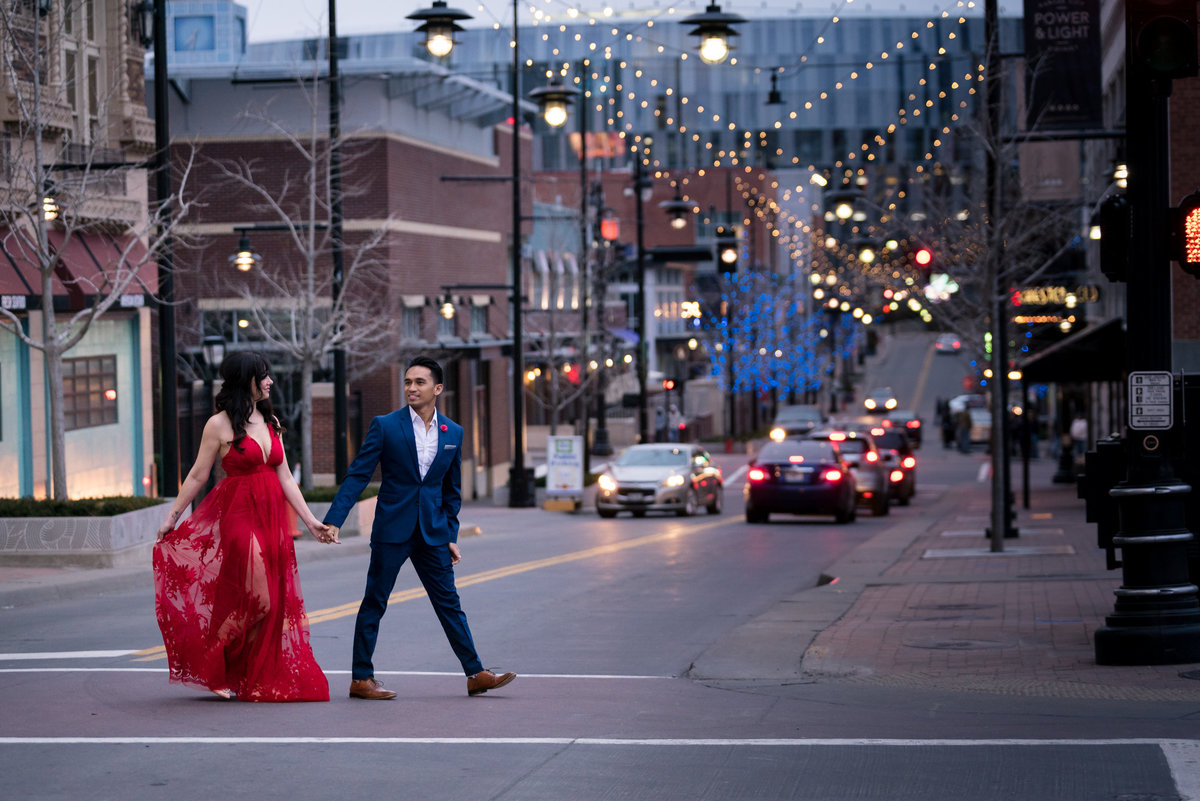 Downtown KC engagement photos on the street.