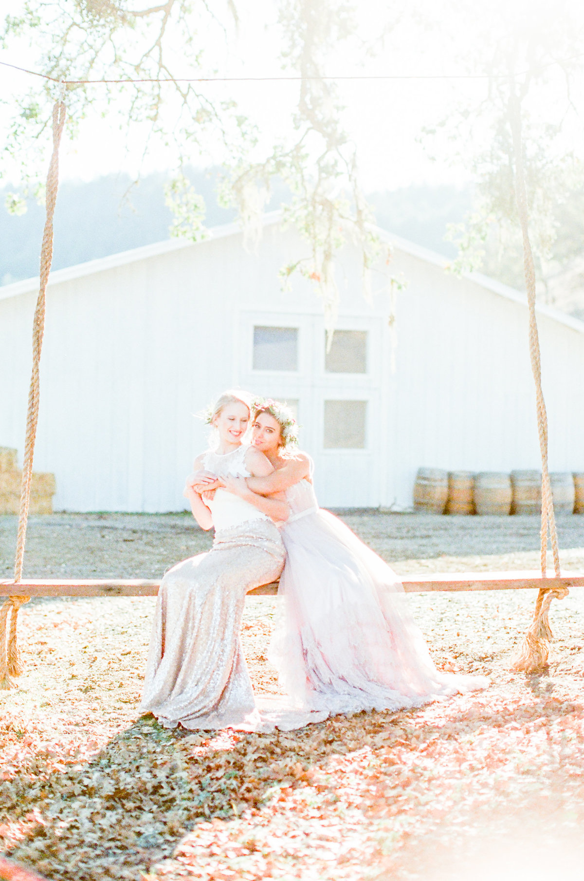 French Oak Ranch Tree Swing Wedding Photo