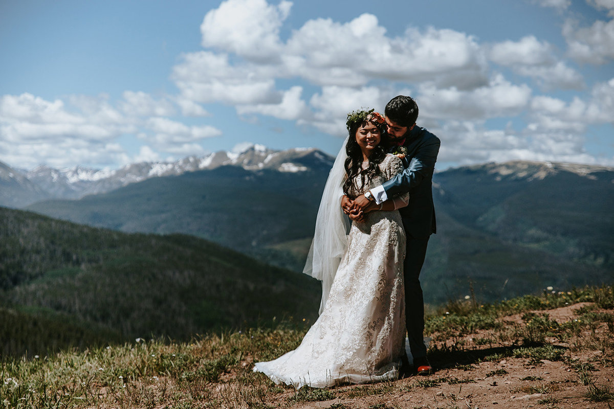 a couple near the Vail Wedding Deck in Vail CO