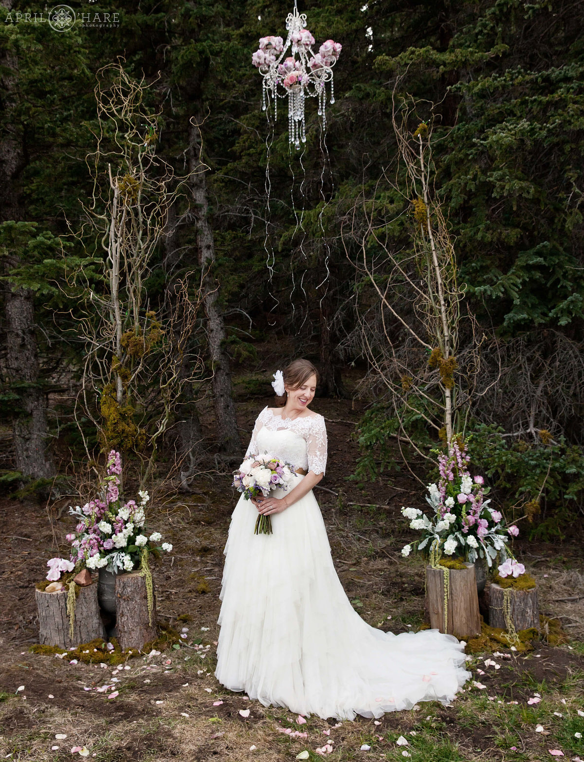 Ethereal Bridal Portrait in the woods at Wedgewood Weddings Mountain View Ranch