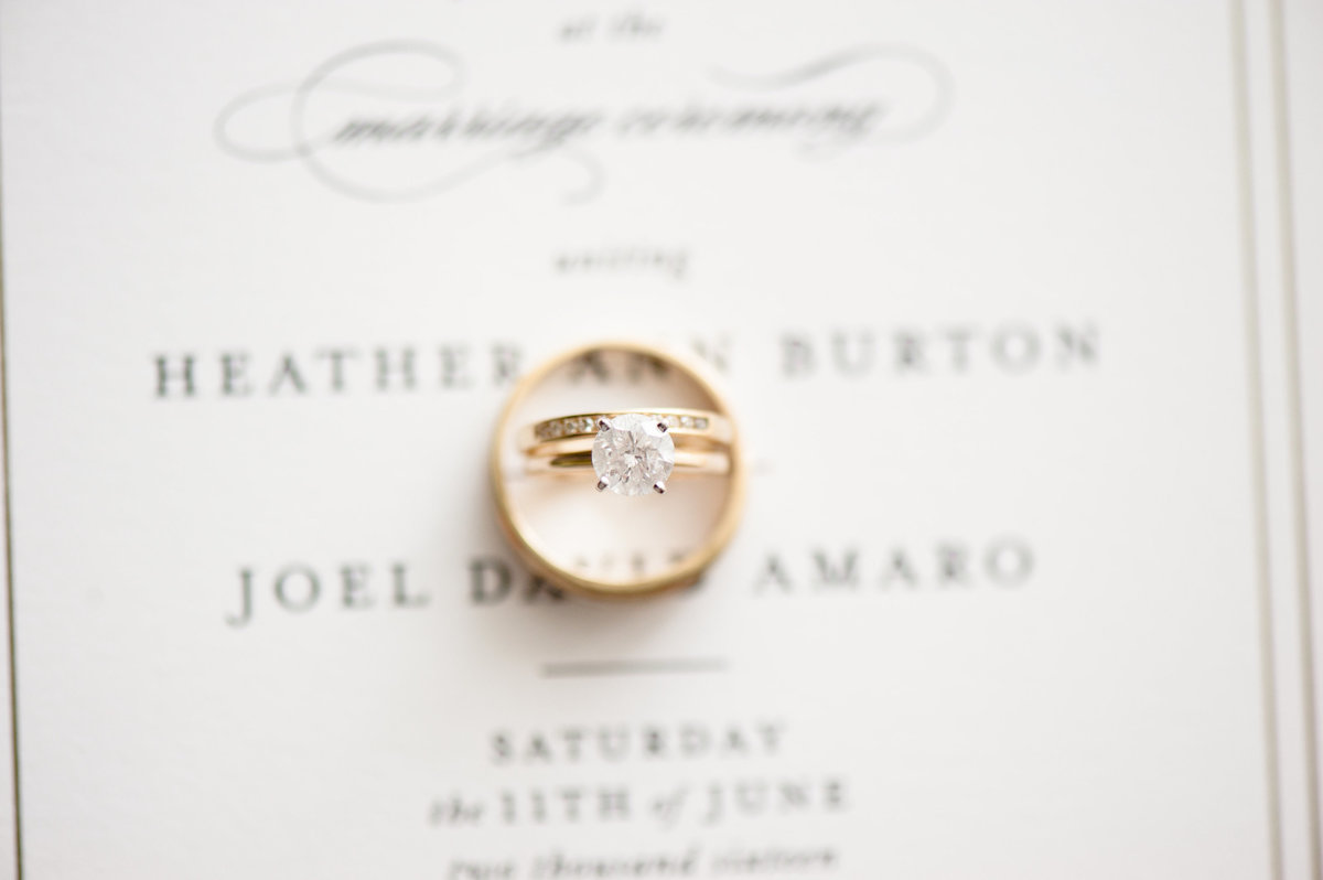 Wedding rings on top of a wedding invitation