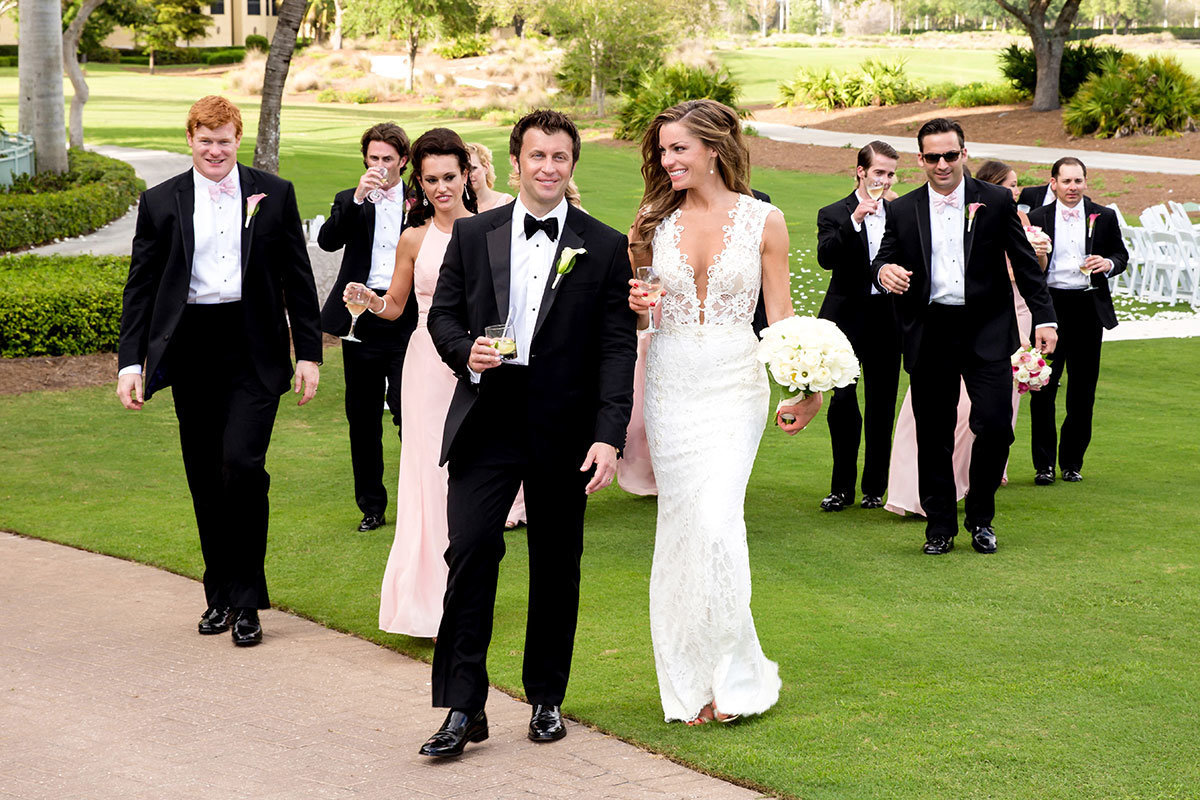 ritz tiburon naples wedding party walking
