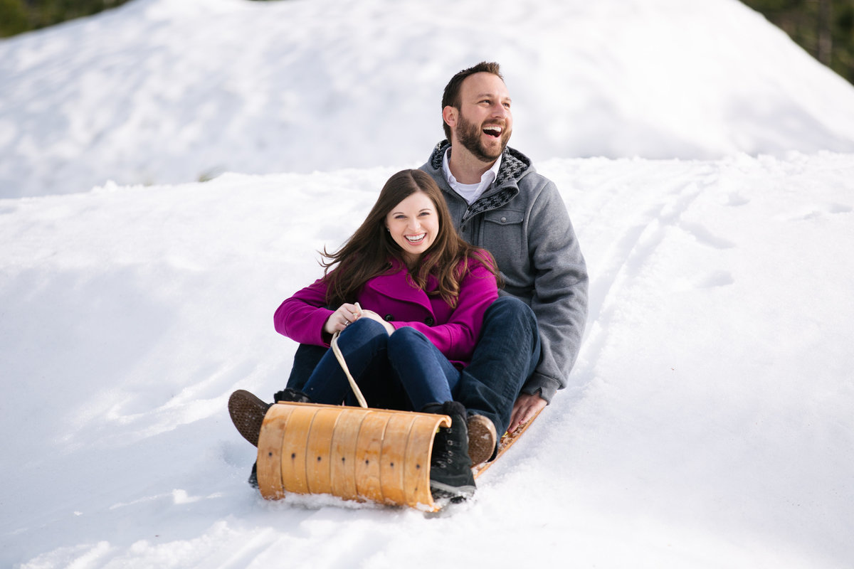 snowy engagement session lake tahoe