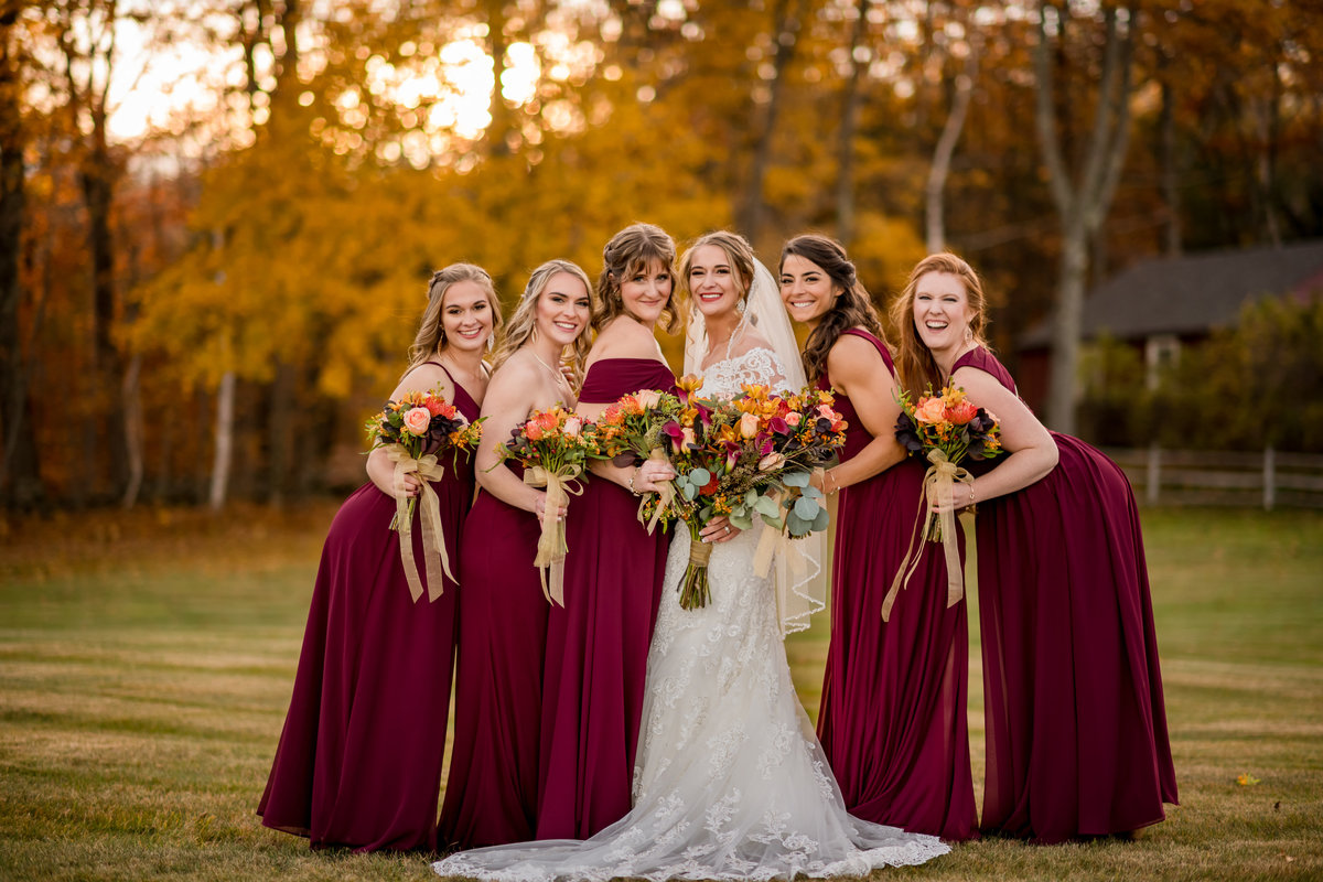bride and bridesmaids together for portrait picture