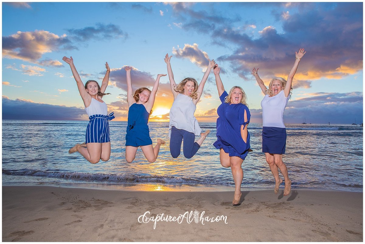 Capture Aloha Photography, Maui Family Portraits with beautiful sunset while jumping on the beach
