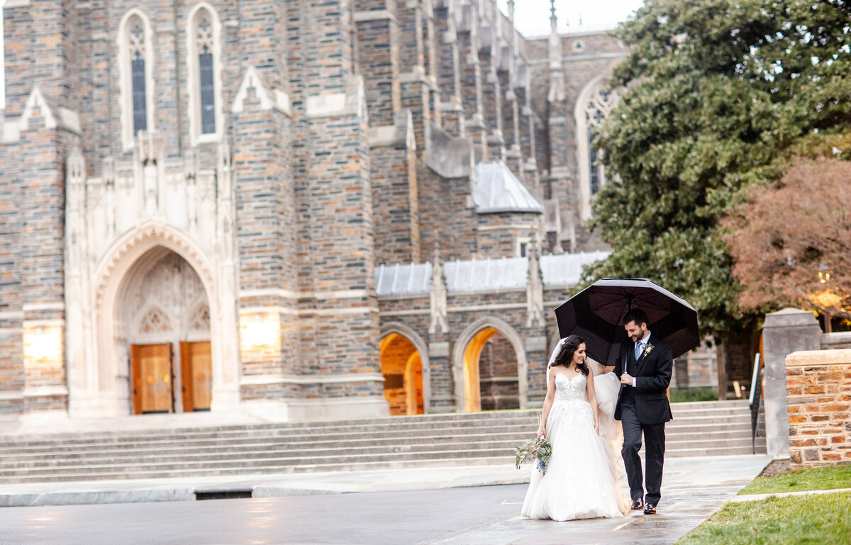 A rainy wedding day at Duke University Chapel