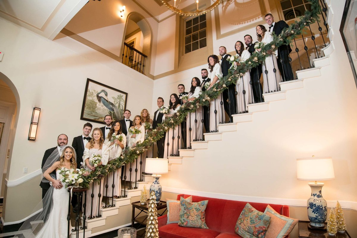 Bridal party on the stairs of The Mansion at Oyster Bay