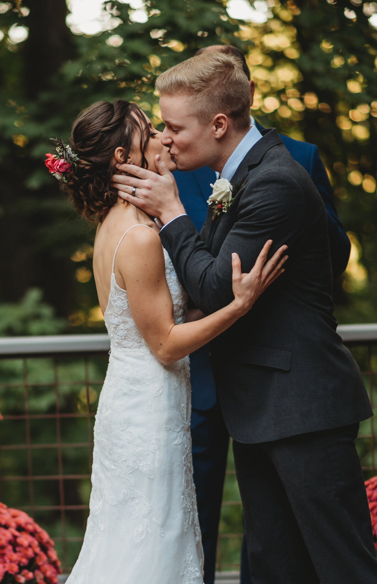 Hannah and Triston October Wedding Brentwood Tennessee First Kiss