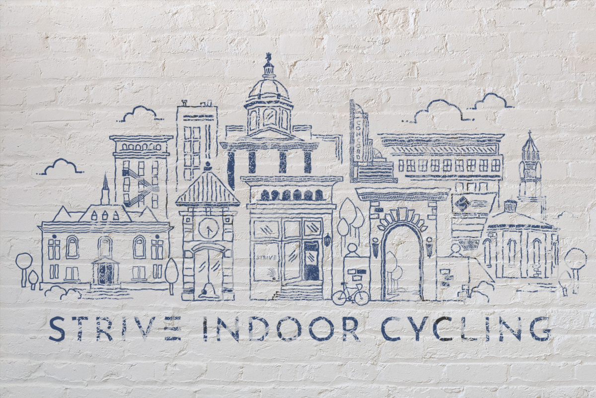 Strive Cycling Illustration Wall mockup