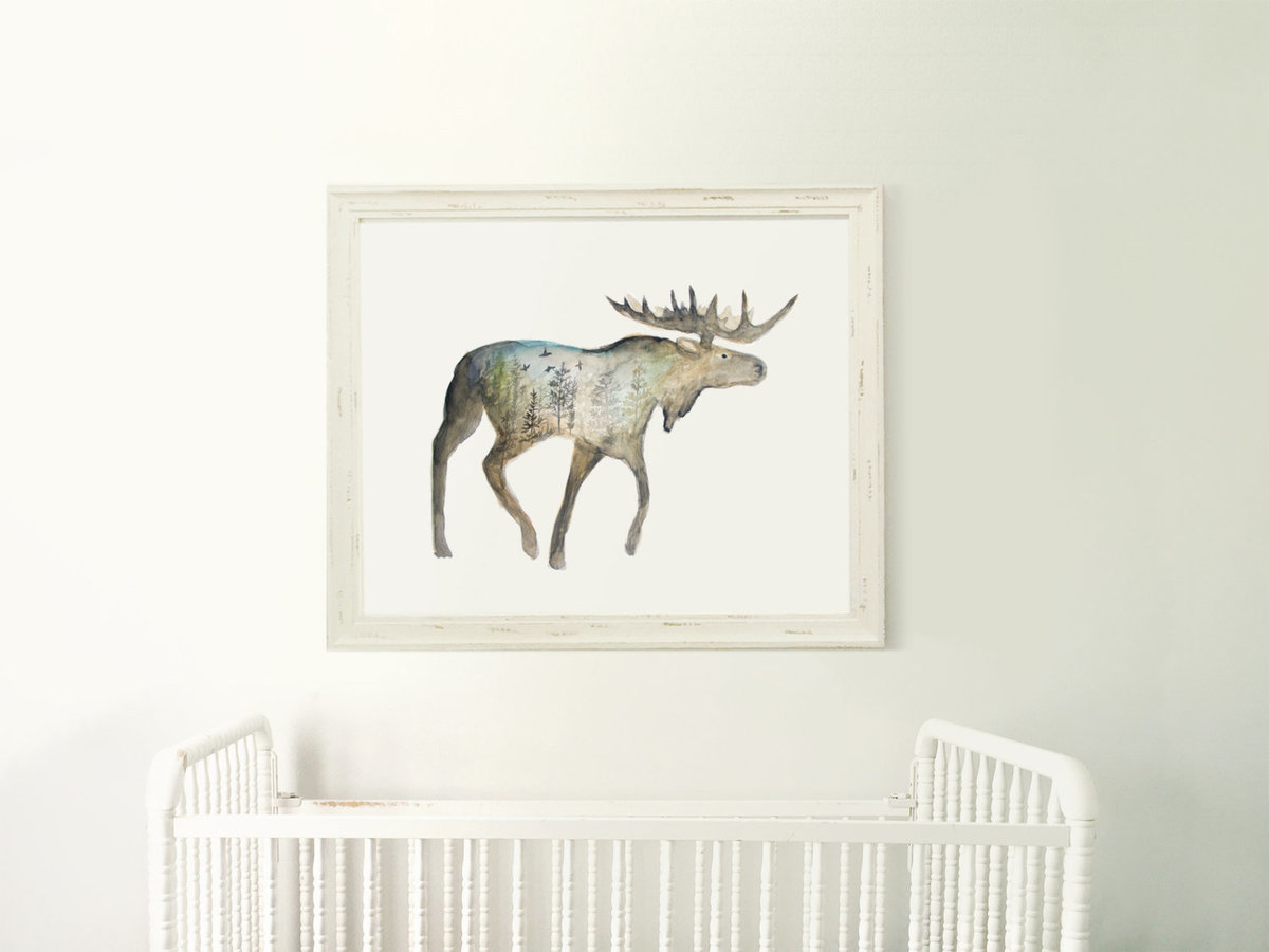 Galaxy_Moose_Forest_Profile_Mountain_Night_Printable_Artwork_-_Animal_Nursery_-_Watercolor_-_Norther-490880090-_3