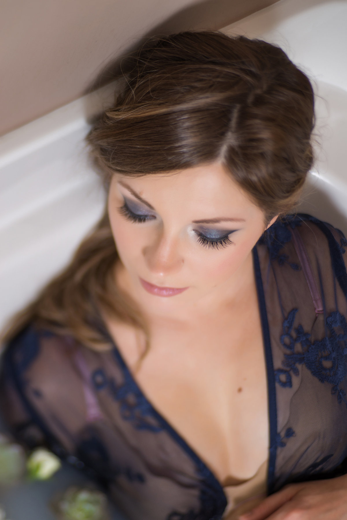 Natalie Setareh Makeup Artist Maternity Milk Bath Navy Blue Smoky Eye