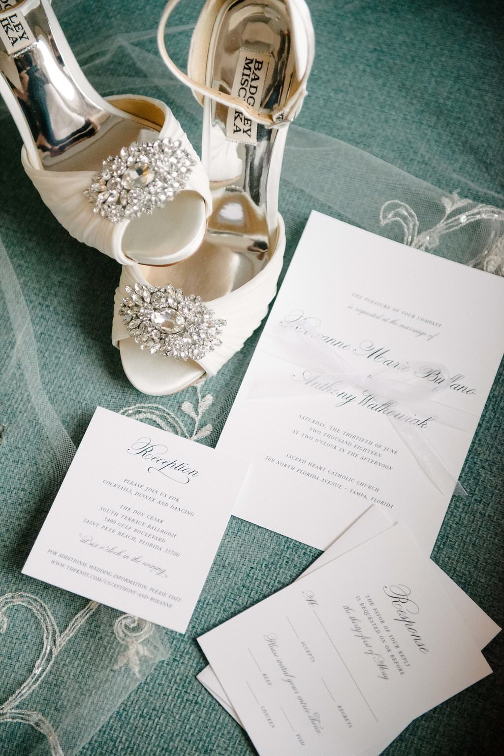 wedding invitations, veil and shoes