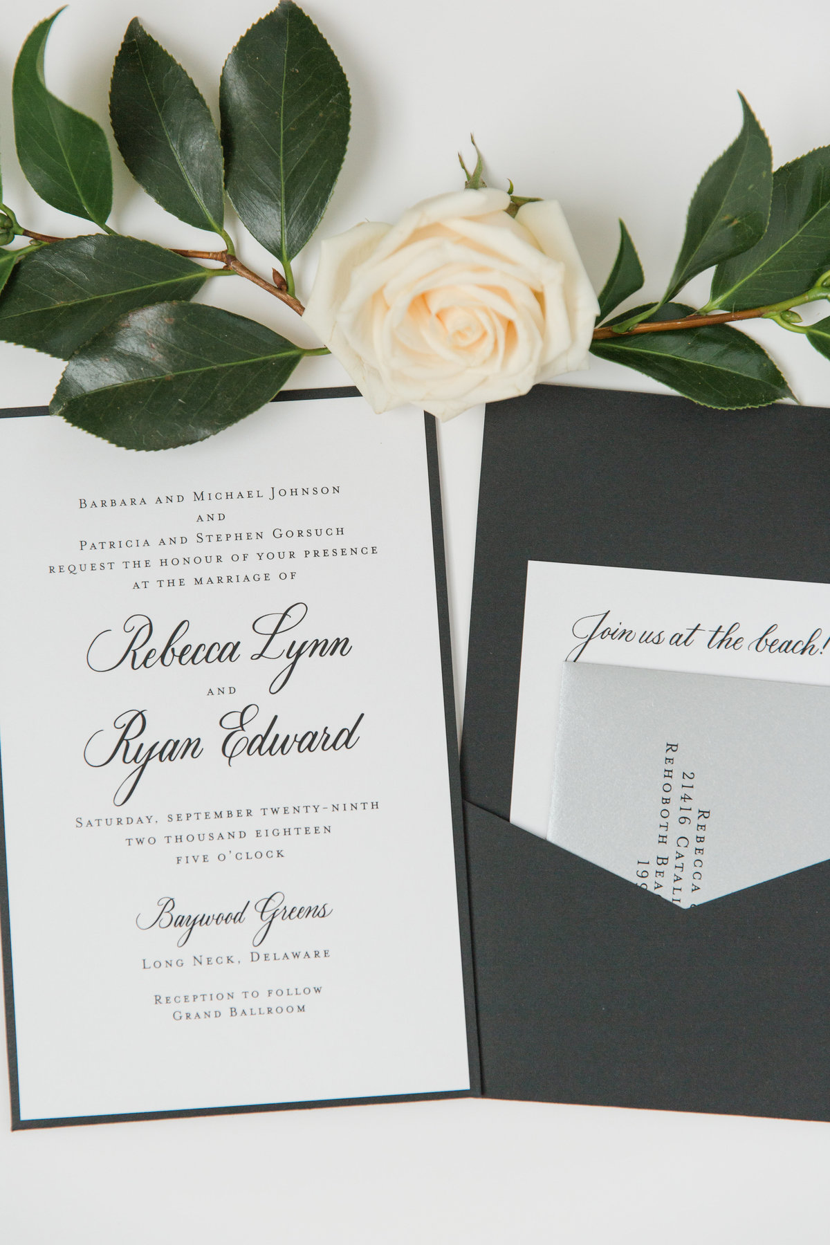 Modern wedding suite in pocket envelope with custom hand lettering