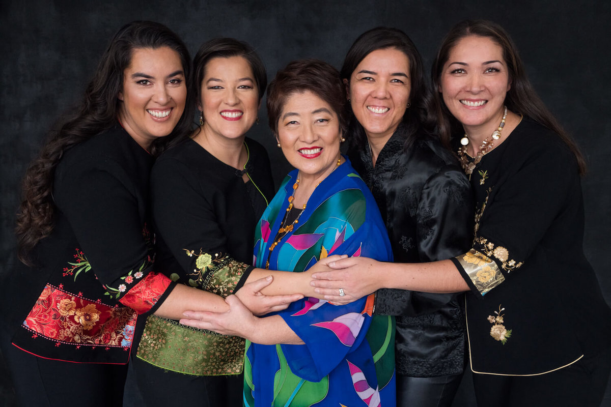 Former mayor Ruth poses with her four daughters for a family photoshoot in Davis California