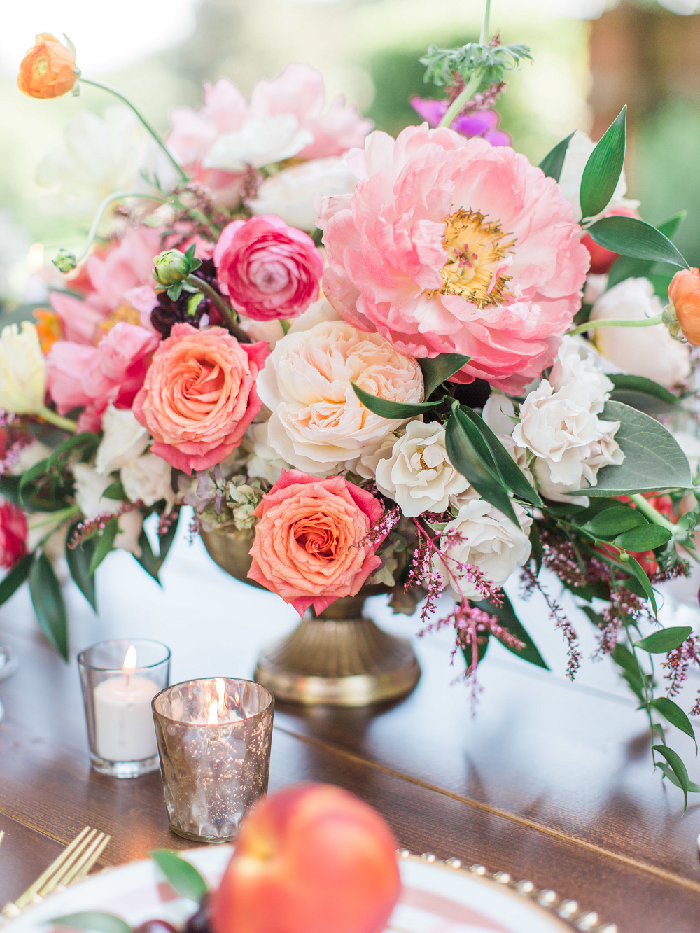 Whimsical Summer Wedding Styled Shoot at Henderson Castle Featured in WeddingDay Magazine Peach and Blush Flowers