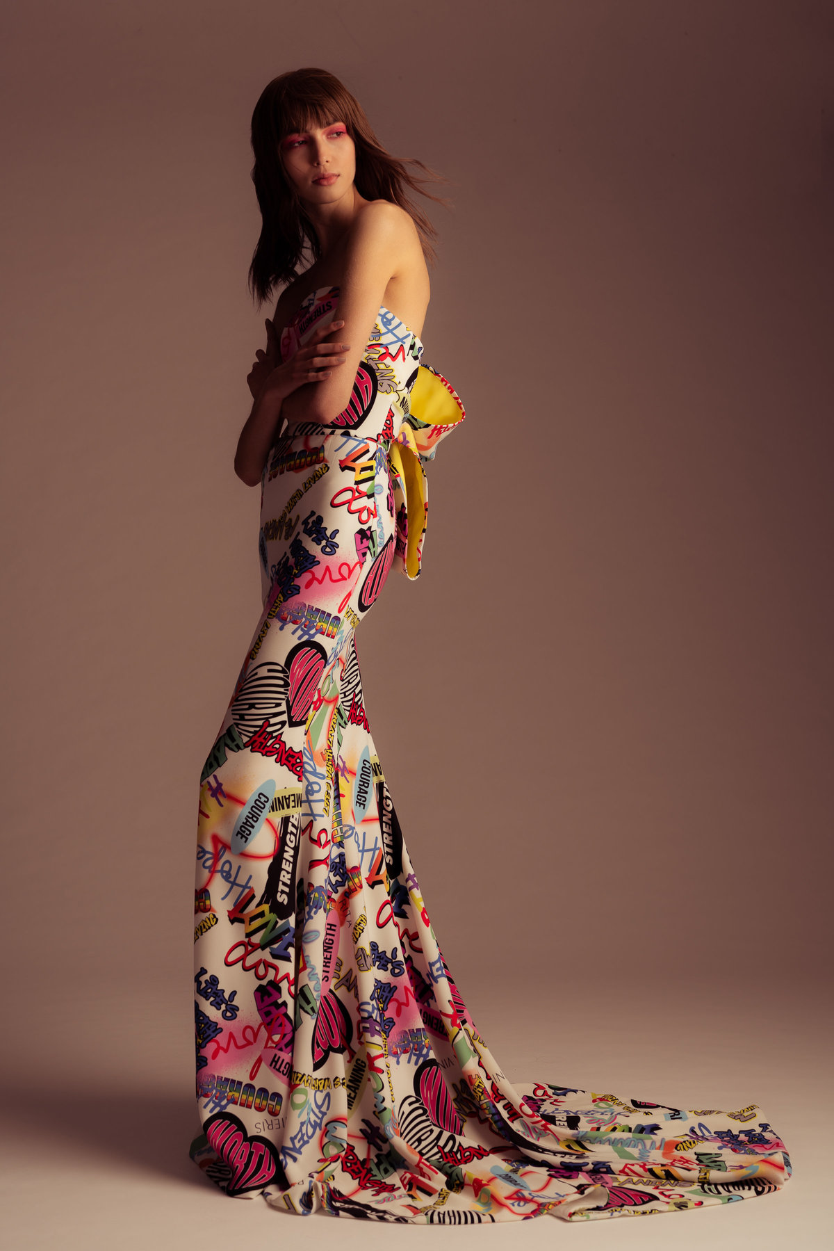 3 Graffiti Bow Gown