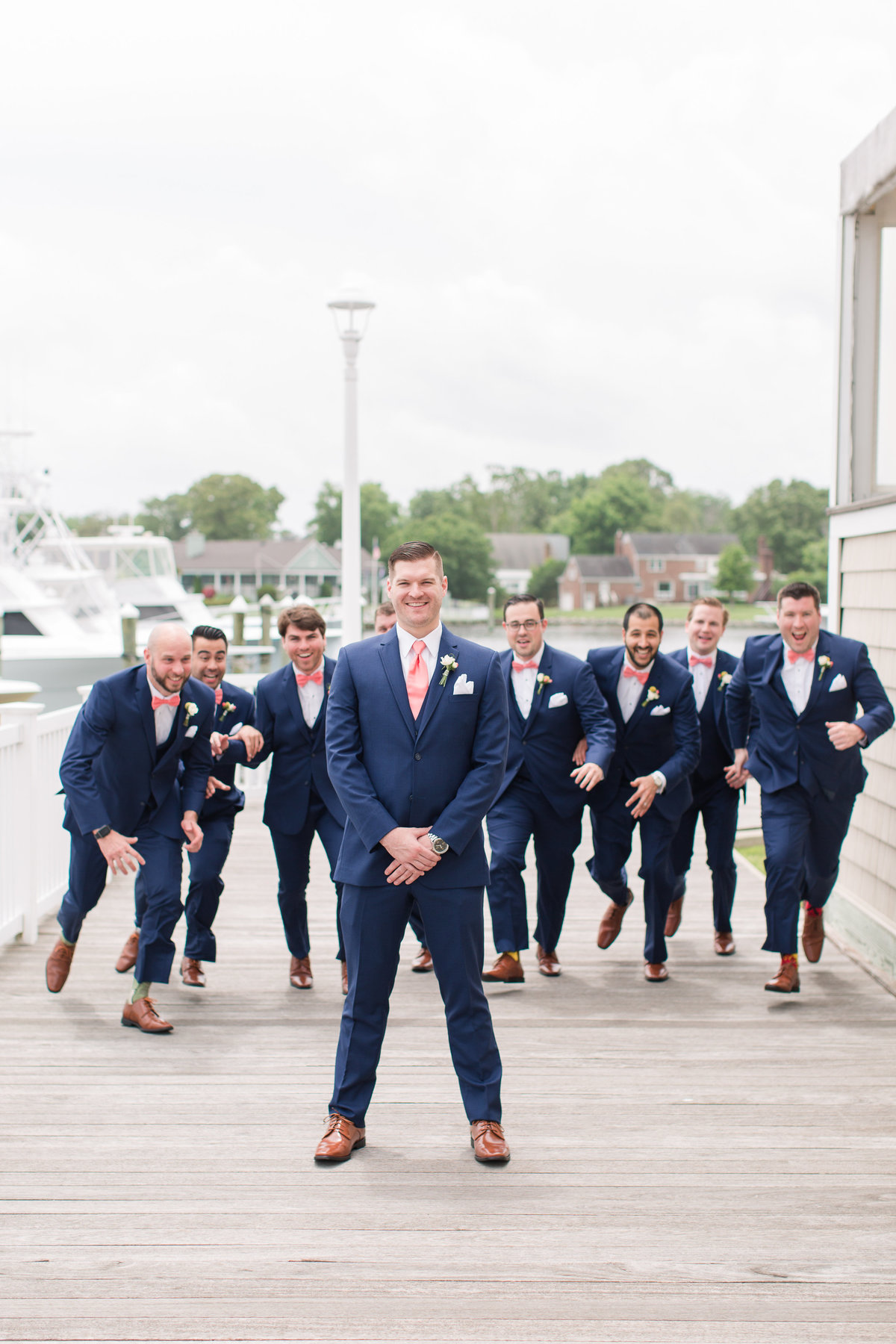 groom having fun with his groomsmen