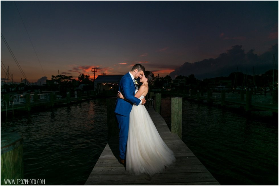 Annapolis Maritime Museum wedding sunset on the docks