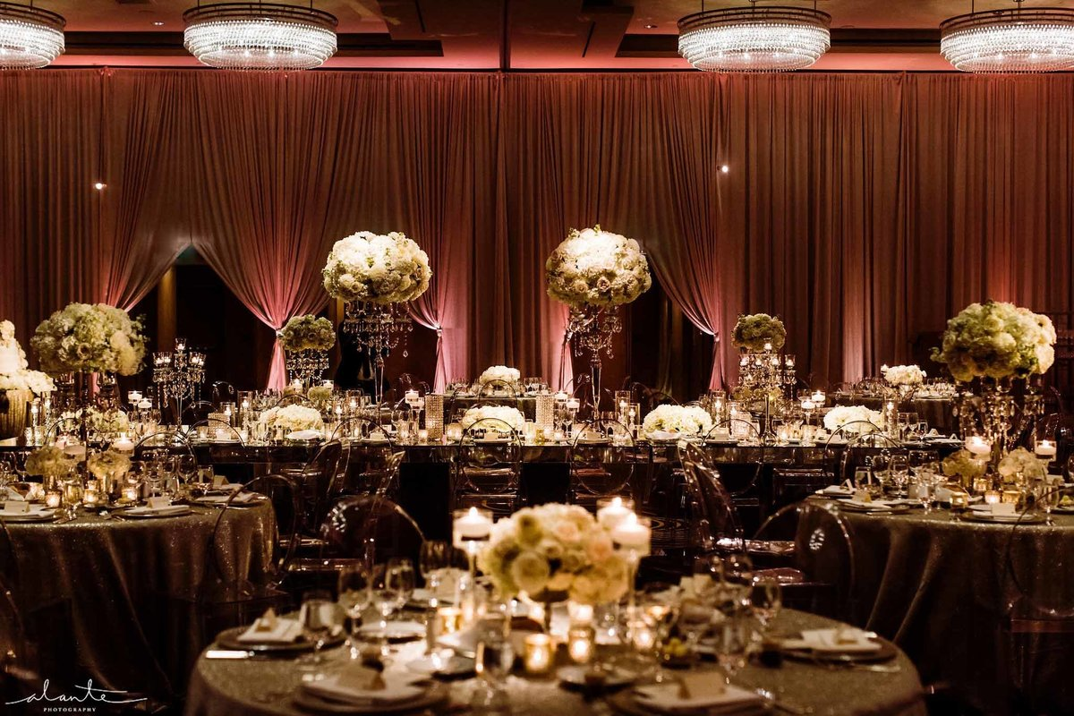 Four Seasons Seattle ballroom wedding reception.