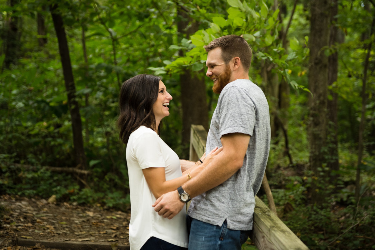 Engagement Photos at Parkville, MO Nature Sanctuary.