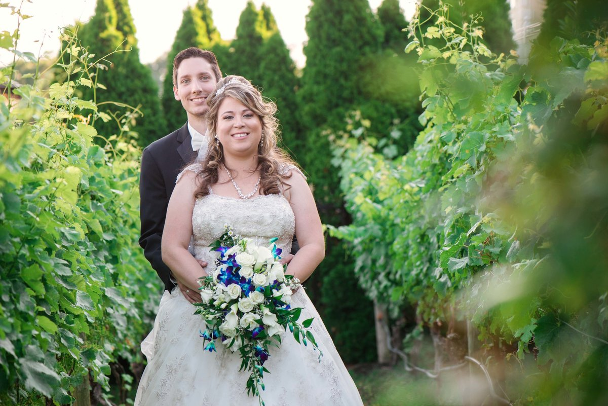 Bride and groom at the vineyard of Giorgio's Baiting Hollow