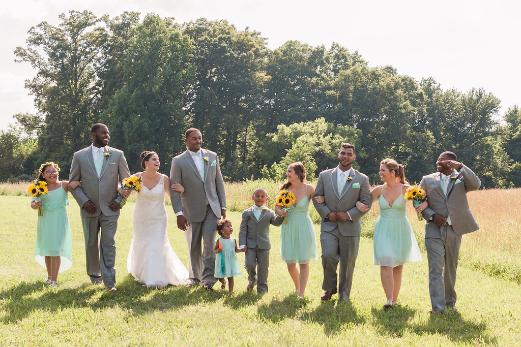 A mint and gray bridal party in Spotsylvania