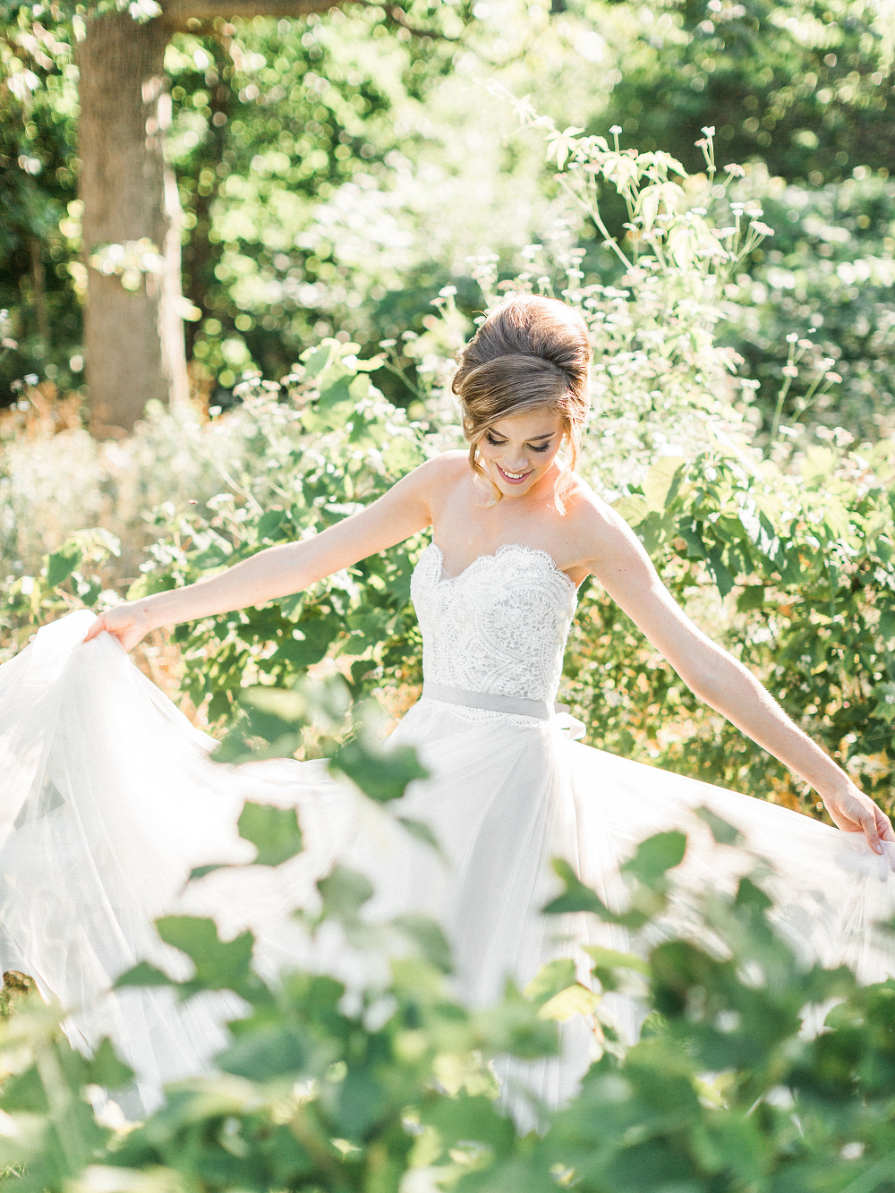 Whimsical Summer Wedding Styled Shoot at Henderson Castle Featured in WeddingDay Magazine Bride Twirling