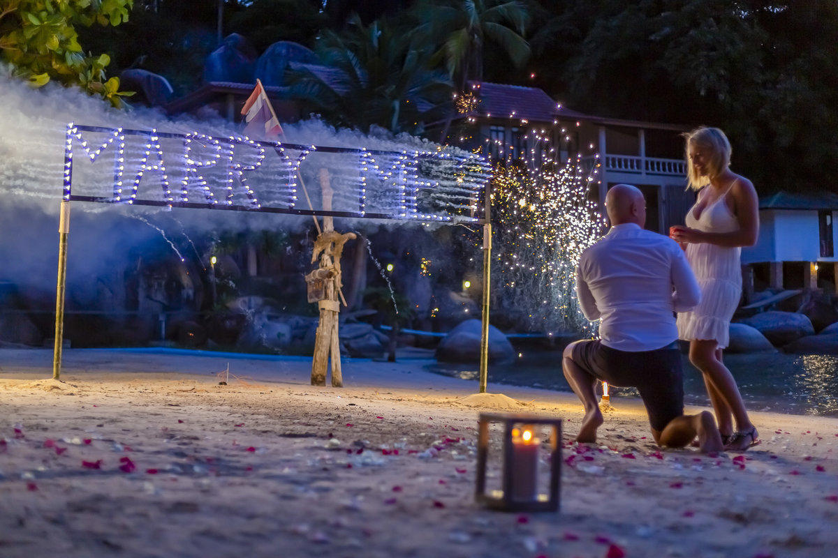 Koh Tao proposal fireworks