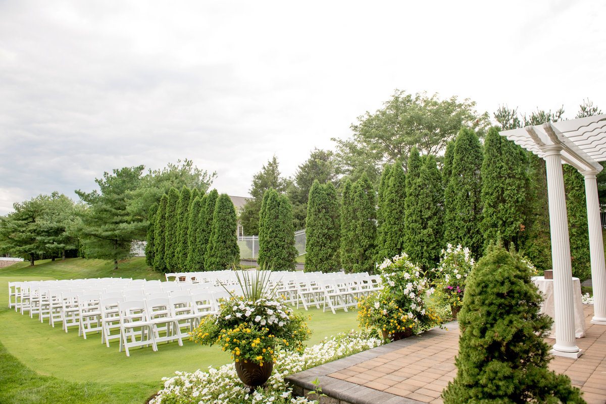 panoramic view of outdoor ceremony set up at Willow Creek Golf and Country Club