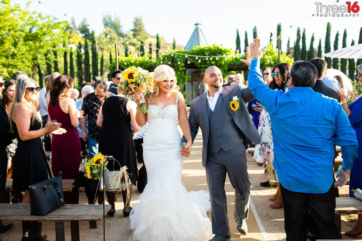 Peltzer Winery Wedding Venue Photography Temecula Ceremony Aisle Bride and Groom