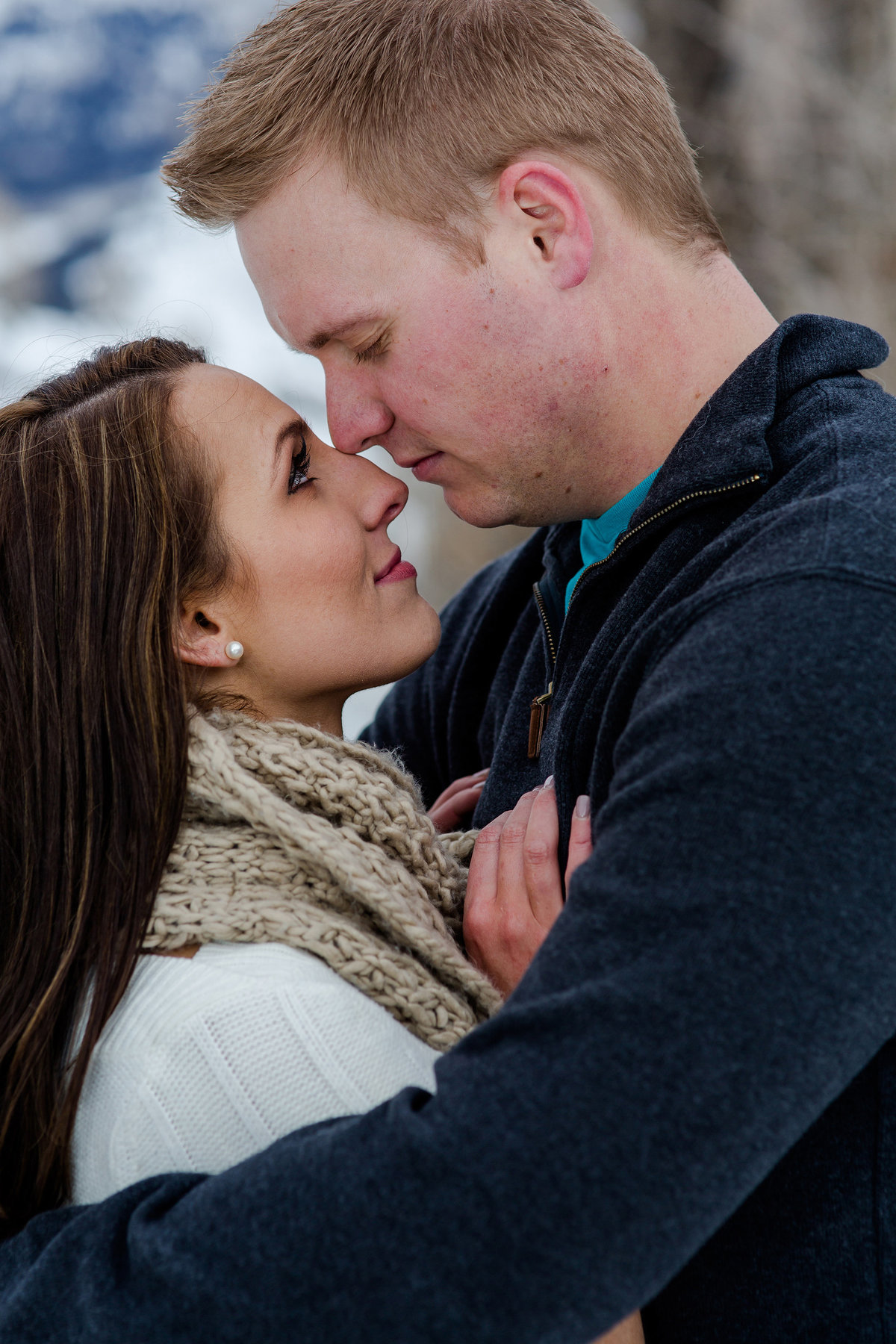 winter engagement photos at Lake Dillon