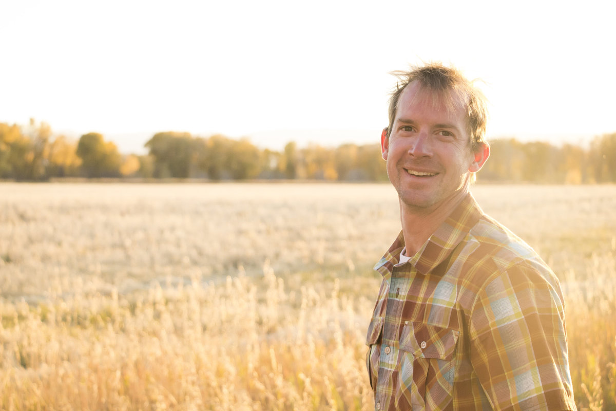 Casual, natural, headshot, male, gold hazy field