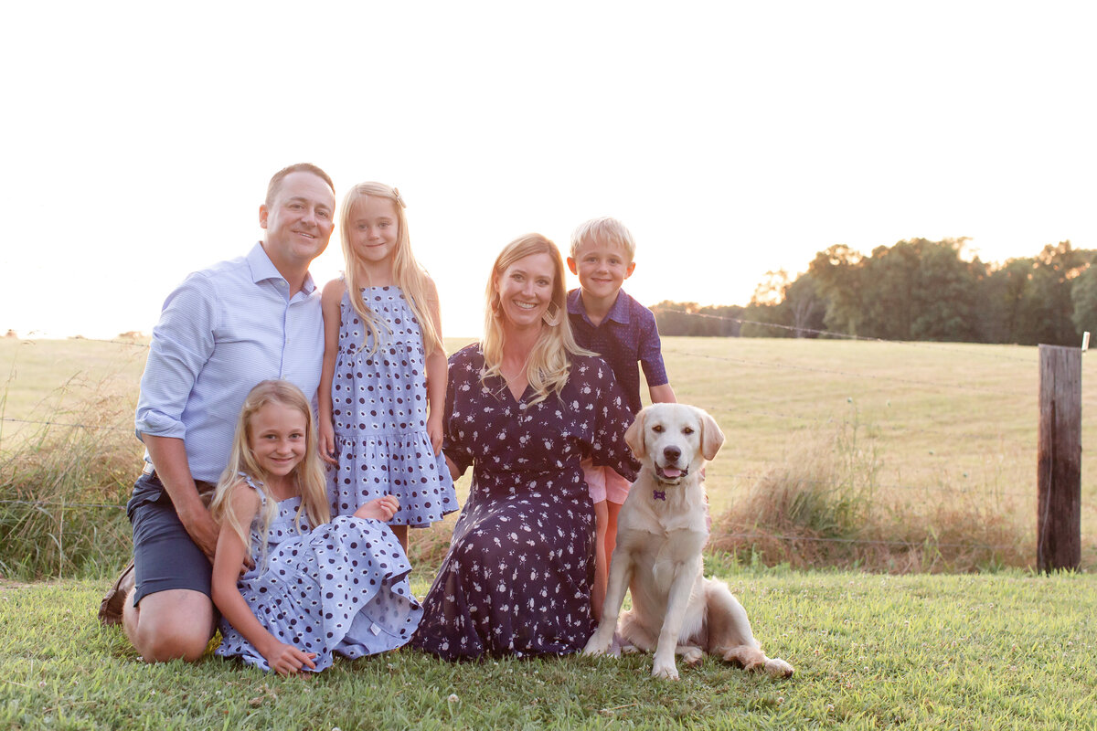 Summer Lifestyle Family  Session family of 5 with dog  in field  in Southern Illinois by Amy Britton Photography Photographer  in St. Louis