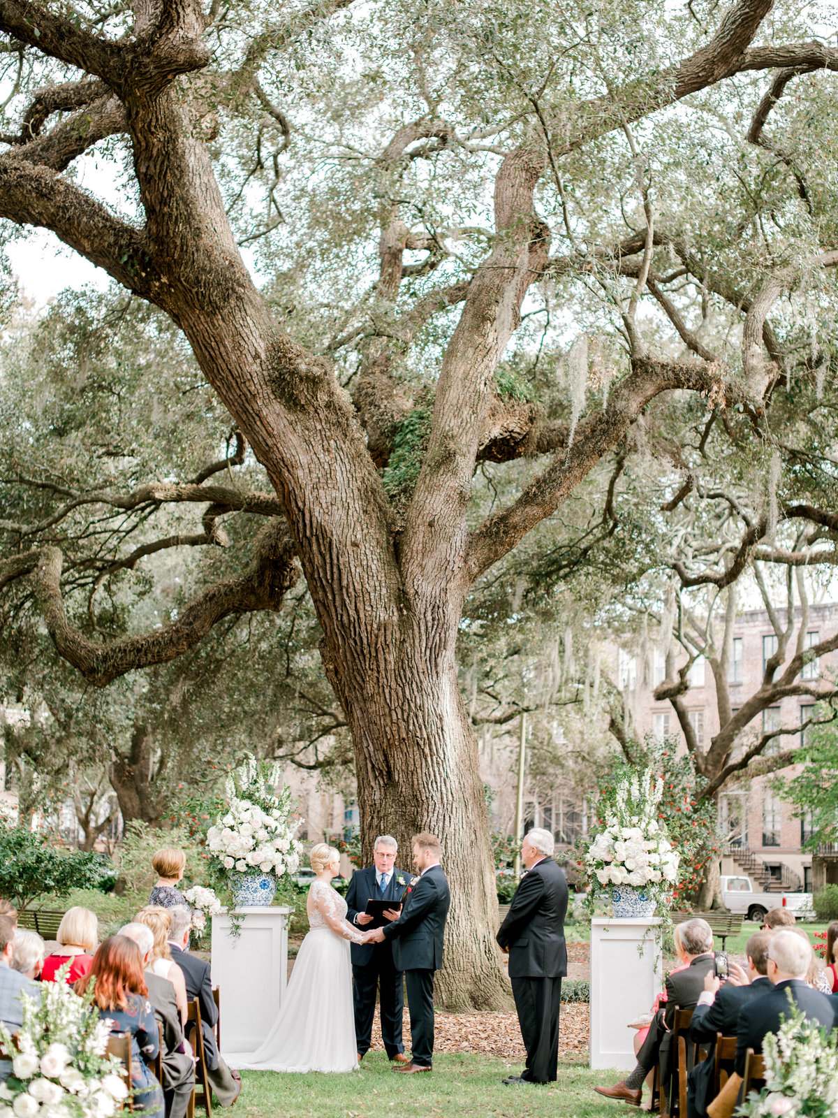 Wedding ceremony chatham square savannah under the oaks and Spanish Moss